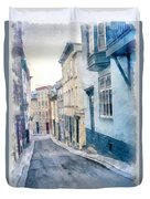The Streets Of Old Quebec City Duvet Cover