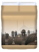 The Suleymaniye Mosque And New Mosque In The Backround Duvet Cover