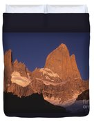 The Sunrise Of Fire Mt Fitzroy Duvet Cover