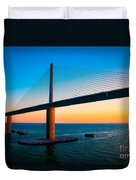 The Sunshine Under The Sunshine Skyway Bridge Duvet Cover by Rene Triay Photography