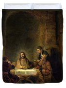 The Supper At Emmaus, 1648 Oil On Panel Duvet Cover