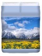 The Teton Mountain Range In The Spring Grand Teton National Park Duvet Cover