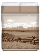 The Tetons In Sepia Duvet Cover