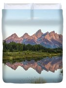 The Tetons Reflected On Schwabachers Landing - Grand Teton National Park Wyoming Duvet Cover