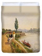 The Thames At Hampton Court Duvet Cover