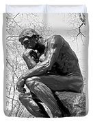 The Thinker In Black And White Duvet Cover