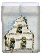 The Three-bell Campanario At Mission San Juan Bautista  Duvet Cover