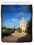 The Torre Del Oro, Gold Tower, Military Duvet Cover
