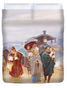 The Train Has Arrived, 1894 Duvet Cover