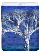 The Tree In Winter At Dusk - Painterly - Abstract - Fractal Art Duvet Cover