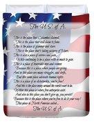 The U.s.a. Flag Poetry Art Poster Duvet Cover