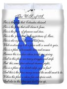 The Usa Statue Of Liberty Poetic Art Poster Duvet Cover by Stanley Mathis