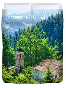 The Village Church - Impressions Of Mountains And Forests Duvet Cover
