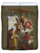The Virgin And Child Appearing To A Group Of Saints Duvet Cover