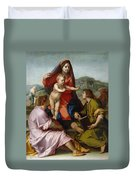 The Virgin And Child Between Saint Matthew And An Angel Duvet Cover