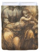 The Virgin And Child With Saint Anne And The Infant Saint John The Baptist Duvet Cover by Leonardo Da Vinci