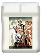 The Virgin And Child With Saint John And Angels Duvet Cover