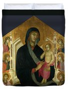 The Virgin And Child With Six Angels Duvet Cover