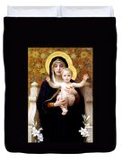 The Virgin Of The Lilies Duvet Cover