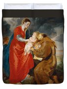 The Virgin Presents The Infant Jesus To Saint Francis Duvet Cover