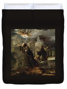 The Vision Of St Francis Of Paola Duvet Cover