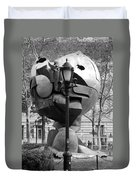 The W T C Plaza Fountain Sphere In Black And White Duvet Cover