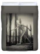 The Walking Man - Bw Duvet Cover by Hannes Cmarits