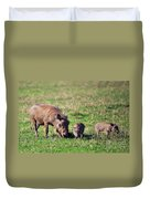 The Warthog Family On Savannah In The Ngorongoro Crater. Tanzania Duvet Cover