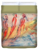 Naked Bodies Playing With Their Lively Waterbus  Duvet Cover