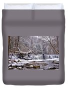 The Waterfall Near Valley Green In The Snow Duvet Cover