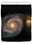 The Whirlpool Galaxy M51 And Companion Duvet Cover by Don Hammond