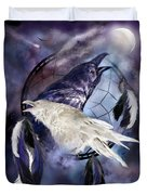 The White Raven Duvet Cover by Carol Cavalaris