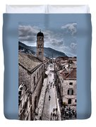 The White Tower In The Stradun From The Ramparts Duvet Cover