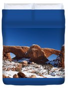 The Windows In Snow Arches National Park Utah Duvet Cover