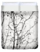 The Winter Pear Tree In Black And White Duvet Cover