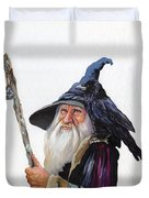 The Wizard And The Raven Duvet Cover by J W Baker