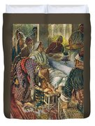 The Woman With The Box Of Ointment Duvet Cover by Harold Copping
