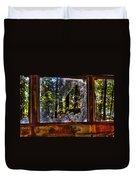 The Woods Through A School Bus Window Duvet Cover