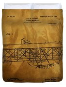 The Wright Brothers Airplane Patent Duvet Cover