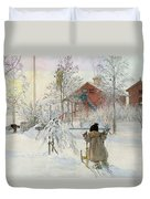 The Yard And Wash House Duvet Cover by Carl Larsson