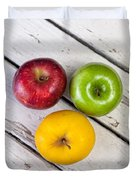 Thee Apples On A Table Duvet Cover