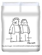 There, There It Is Again - The Invisible Hand  Of Duvet Cover by Charles Barsotti