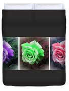 There Were Roses Triptych Duvet Cover