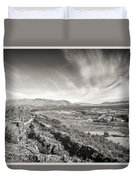 Thingvellir Iceland Black And White Duvet Cover