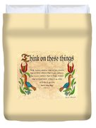 Think On These Things Fraktur Duvet Cover