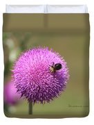 Thistle And A Bee Duvet Cover