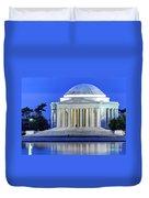 Thomas Jefferson Memorial At Night Reflected In Tidal Basin Duvet Cover