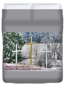 Though Your Sins Are Like Scarlet - They Shall Be White As Snow - From Isaiah 1.18 Duvet Cover by Michael Mazaika