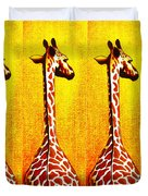 Three Amigos Giraffes Looking Back Duvet Cover
