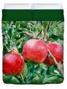 Three Apples On Tree Duvet Cover